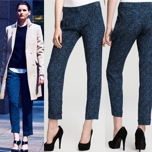 • Theory • Latani B Silk Cuffed Printed Pants Blue